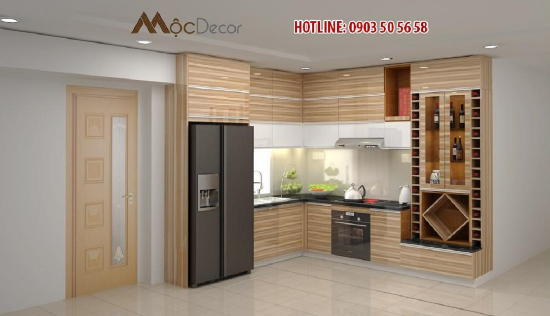 Mẫu tủ bếp Acrylic vân gỗ