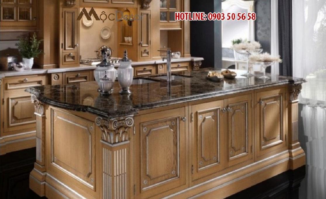 Tủ bếp gỗ tự nhiên tân cổ điển